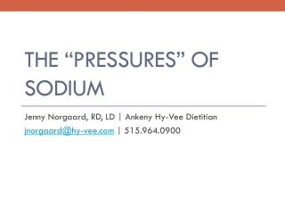 "The ""Pressures"" of Sodium"