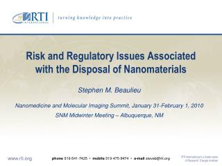 Risk and Regulatory Issues Associated with the Disposal of Nanomaterials