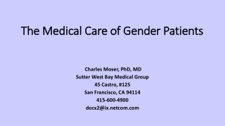 The Medical Management of Transgendered Patients