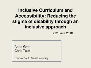 Anne Grant Chris Tuck London South Bank University