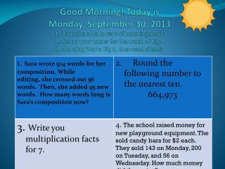 Online Morning Work wk of September 30