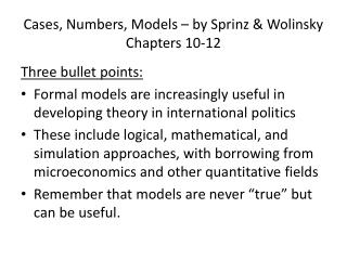 Cases, Numbers, Models � by  Sprinz  &  Wolinsky Chapters 10-12