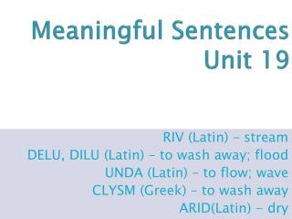 Meaningful Sentences Unit 19