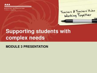 Supporting students with complex needs