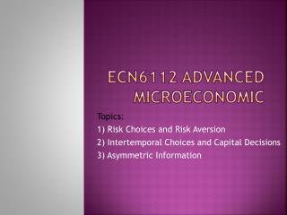 ECN6112 ADVANCED MICROECONOMIC