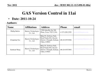 GAS Version Control  in 11ai