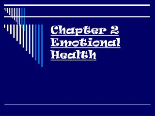 Chapter 2 Emotional Health