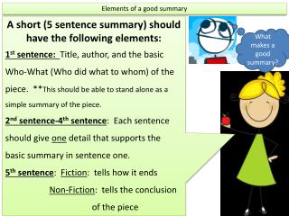 Elements of a good summary