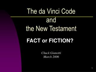 The da Vinci Code  and  the New Testament