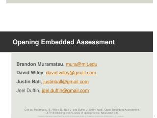 Opening Embedded Assessment