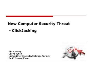 New Computer Security Threat  - ClickJacking