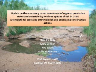 Phaedra Budy Mary Conner Nira Salant Wally MacFarlane Utah Chapter – AFS Bullfrog, UT, March 2012