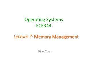 Operating Systems ECE344
