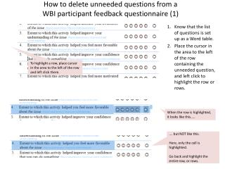 How to delete unneeded questions from a  WBI participant feedback questionnaire (1)