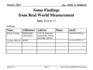 Some Findings  from Real World Measurement