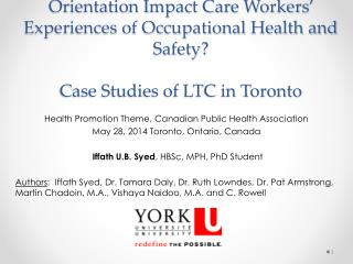 Health Promotion Theme, Canadian Public Health Association  May 28, 2014 Toronto, Ontario, Canada