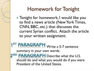 Homework for Tonight