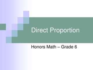 Direct Proportion
