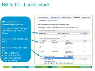 Bill to ID - Lock/Unlock