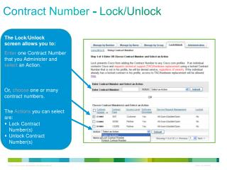 Contract Number - Lock/Unlock