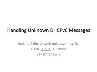 Handling Unknown DHCPv6 Messages