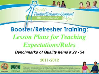 Booster/Refresher Training: Lesson Plans for Teaching Expectations/Rules