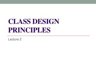 Class design  principles