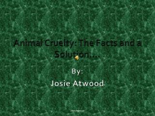 Animal Cruelty: The Facts and a Solution….