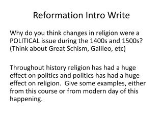 Reformation Intro Write