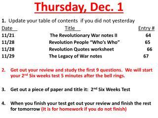Thursday ,  Dec. 1