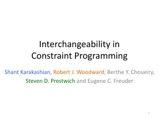 Interchangeability  in Constraint Programming