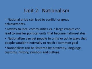 Unit 2:  Nationalism