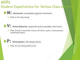 MVPs Student Expectations for Various Class Activities