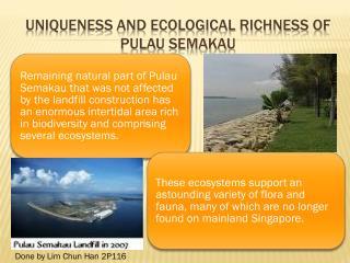 Uniqueness and ecological richness of  pulau semakau