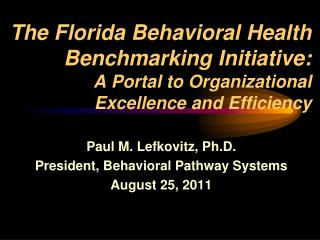 The Florida Behavioral Health Benchmarking Initiative:  A Portal to Organizational  Excellence and Efficiency