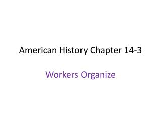 American History Chapter 14-3
