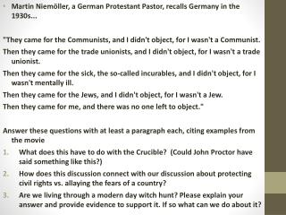 Martin  Niemöller , a German Protestant Pastor, recalls Germany in the 1930s...
