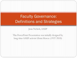 Faculty Governance: Definitions and Strategies