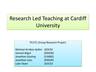 Research Led Teaching at Cardiff University