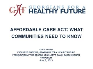 affordable  c are  a ct: what  c ommunities  n eed to know