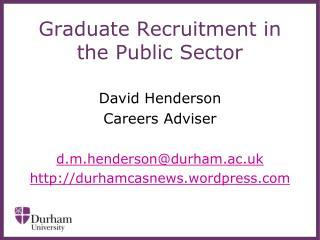 Graduate Recruitment in the Public Sector