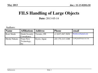 FILS Handling of Large Objects