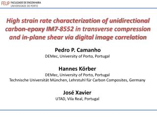 Pedro P. Camanho DEMec , University of Porto, Portugal Hannes Körber