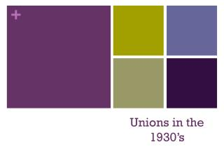 Unions in the 1930's