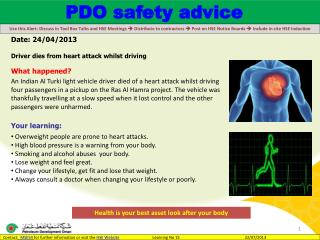 Date:  24/04/2013  Driver dies from heart attack whilst driving What happened?