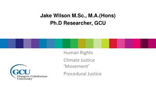 Jake Wilson M.Sc., M.A.( Hons ) Ph.D  Researcher, GCU
