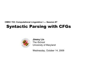Syntactic  Parsing with CFGs