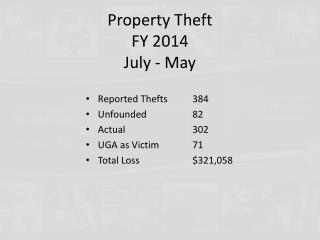 Property Theft FY 2014 July - May