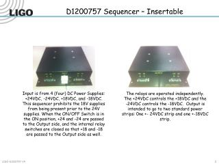 D1200757 Sequencer  – Insertable