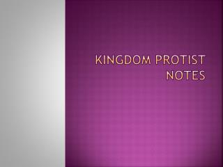 Kingdom  Protist  Notes
